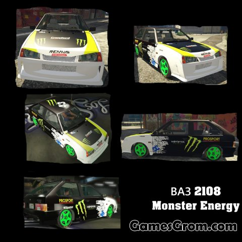 "Машина ВАЗ 2108 ""Monster Energy"" для GTA 5"